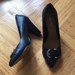 Nine West chunky heel black leather pumps heels